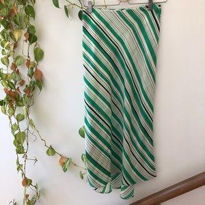 Zara green wht blk stripe satin silk midi skirt S